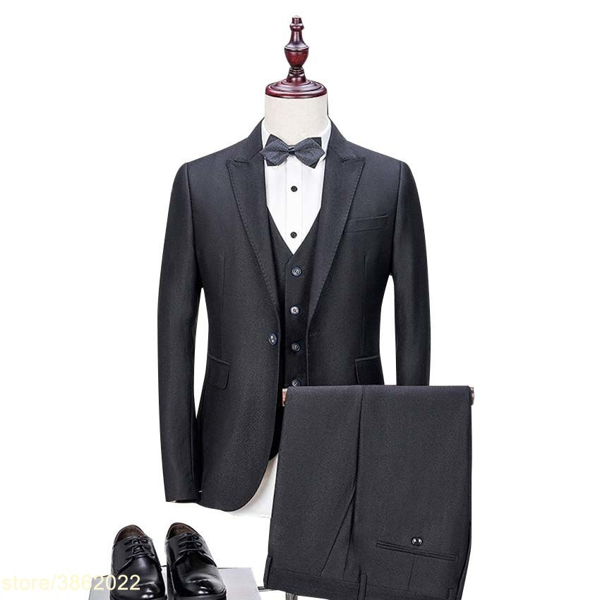 Бренд индивидуальные Для мужчин костюм комплект из 3 предметов (куртка + брюки + жилет) черный блейзер тонкий работы костюмы для выпускного м...