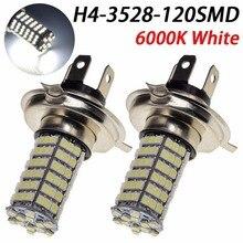 2 * Lampada Levou Farol 120 Leds Carro Moto H3 H1 H4 H7 H11 9005 9006 O Par de Super Branca efeito
