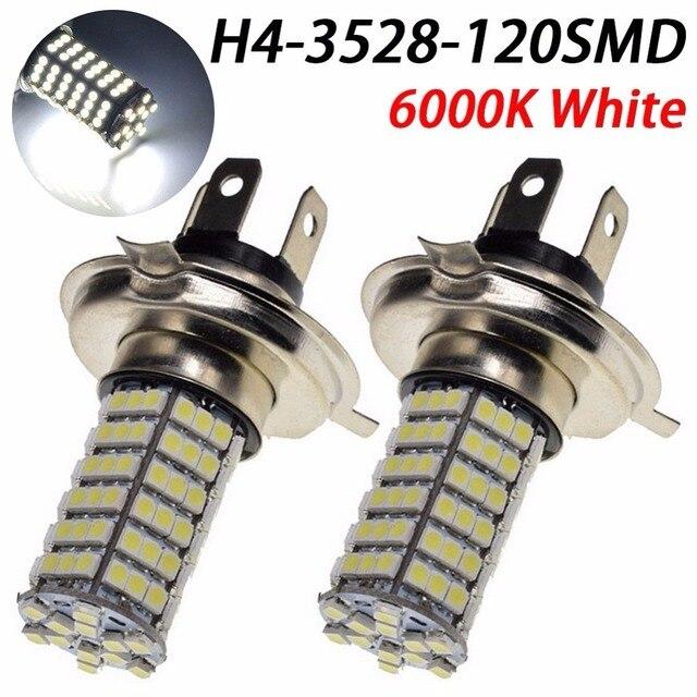 2* Lampada Led Farol 120 Leds Carro Moto H4 H7 H11 H3 H1 9005 9006 O Par Super Branca efeito