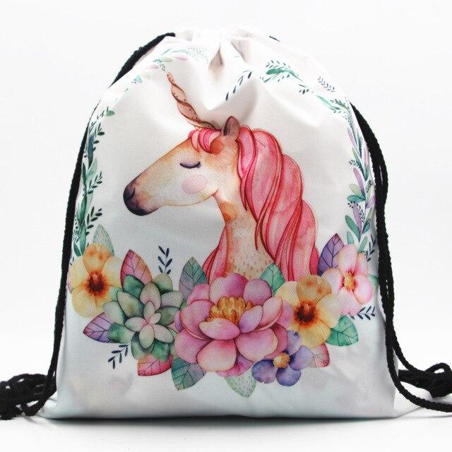 3d Digital Drawstring Storage Bag Unicorn Women Backpack Shoulder