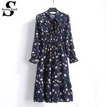 SunnyYeah Повседневное шифоновое платье Цветочный принт сезон: весна–лето платье Для женщин 2018 Vestidos дамы миди с длинным рукавом Винтажные наряды Халат