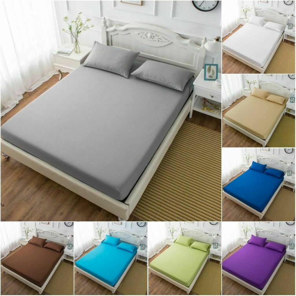 Plain Dyed Elastic Fitted Sheet Single Double King SuperKing Size Polycotton