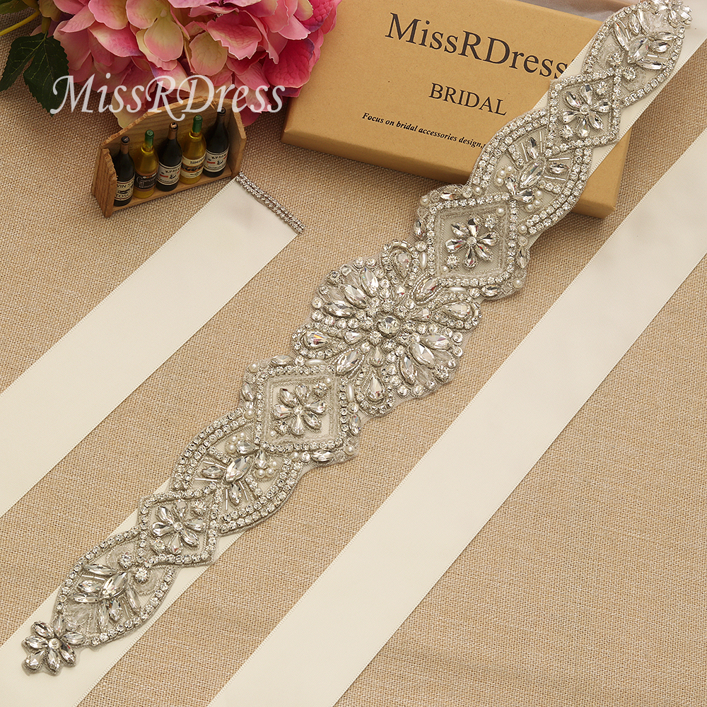 MissRDress Crystal Rhinestones Riem Wedding Belt Feminine Bridal Sash - Bruiloft accessoires