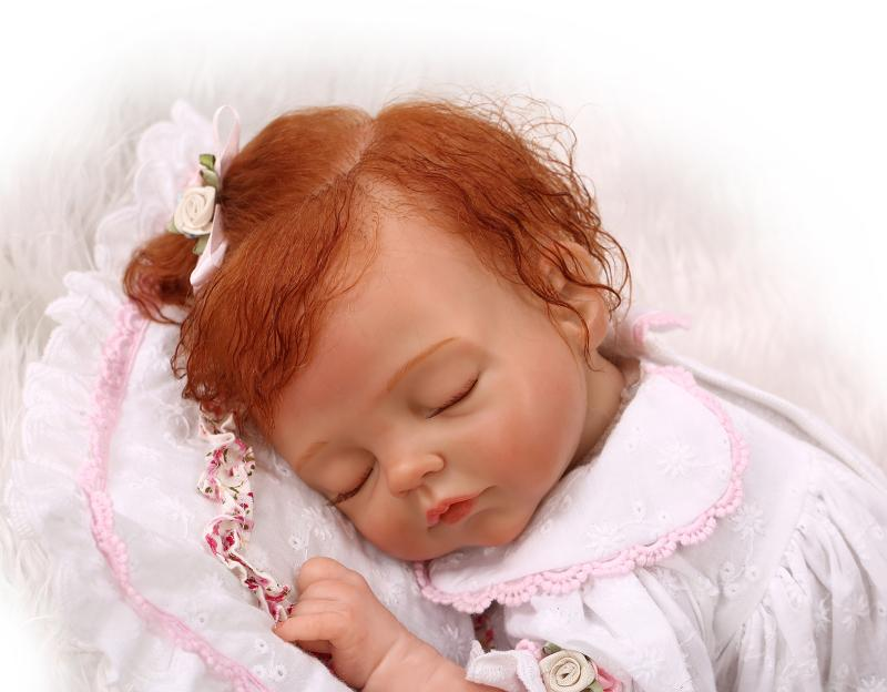 50cm soft body silicone reborn baby doll toy lifelike baby reborn sleeping newborn boy doll kids birthday gift girl brinquedos More Realistic Soft Silicone Reborn Sleeping Baby Doll Girl Toy 40cm Lifelike Newborn Girl Babies Child Kids Best Birthday Gift