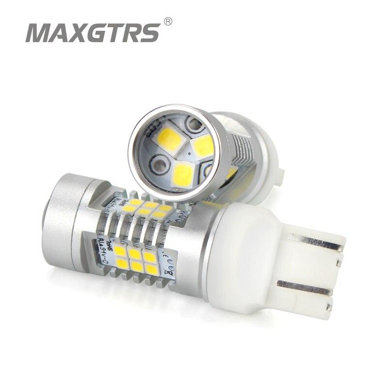 2х теплый белый высокой мощности Т20 7443 в w21/5 Вт 2835 21SMD LED Автоматический сигнал поворота тормоз Лампа лампы постоянного тока 12В парковка светодиодов задние фонари