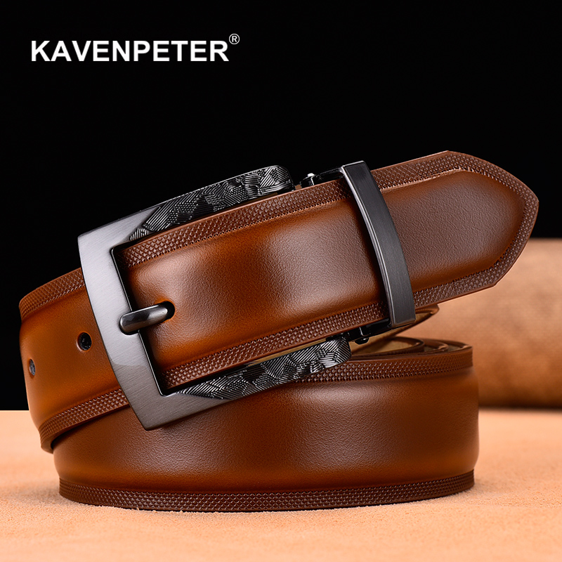 Men   Belt   High Quality Cow Genuine Leather Luxury Strap Male   Belts   For Men New Fashion Classic Vintage Gun Metal Pin Buckle
