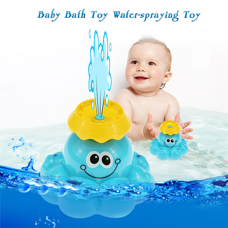 1 Pcs Baby Bath Toy Mini Spray Water Octopus Kids Bathroom Swimming Pool Water Play Classic Educational Learning Toysbnrw