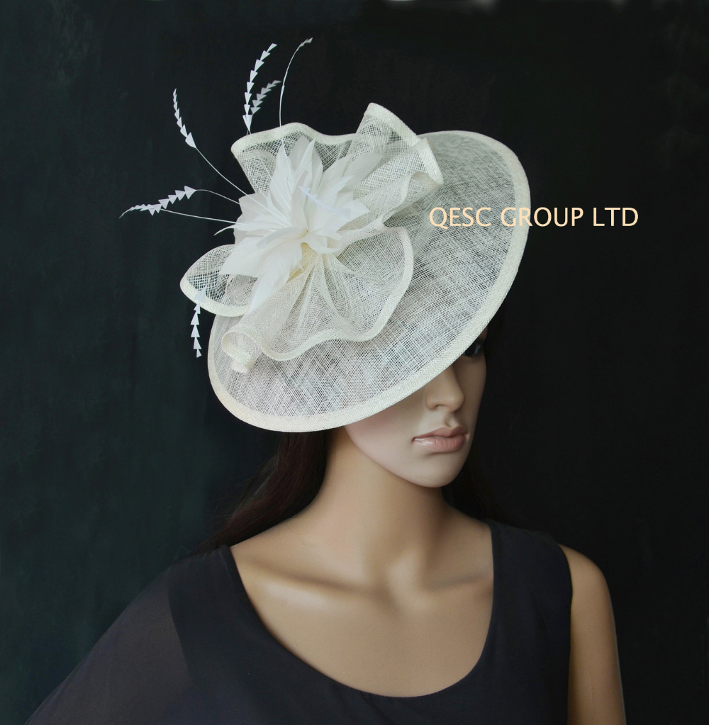 New arrival.6 colours.Big sinamay fascinator Hat with feathers.royal ... 904442c08a66