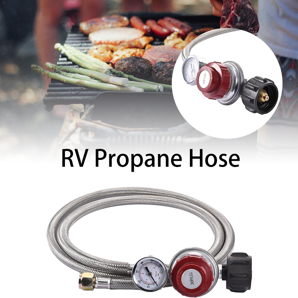 0~30PSI High Pressure Propane Regulator Adjustable Stainless Steel Braided 3/8