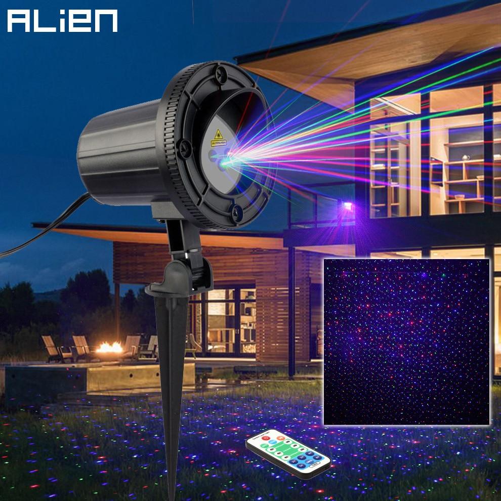 ALIEN Remote Motion Static RGB Star Outdoor Waterproof Laser Light Projector Garden Christmas Tree Xmas Decorate