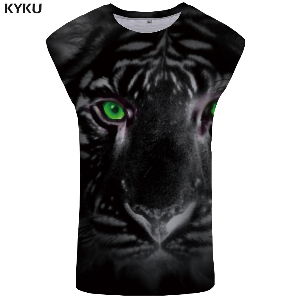 KYKU Tiger   Tank     Top   Men Anime Mens Bodybuilding Eye Undershirt Print Stringer Singlet Vest Sleeveless Shirt muscle Clothes