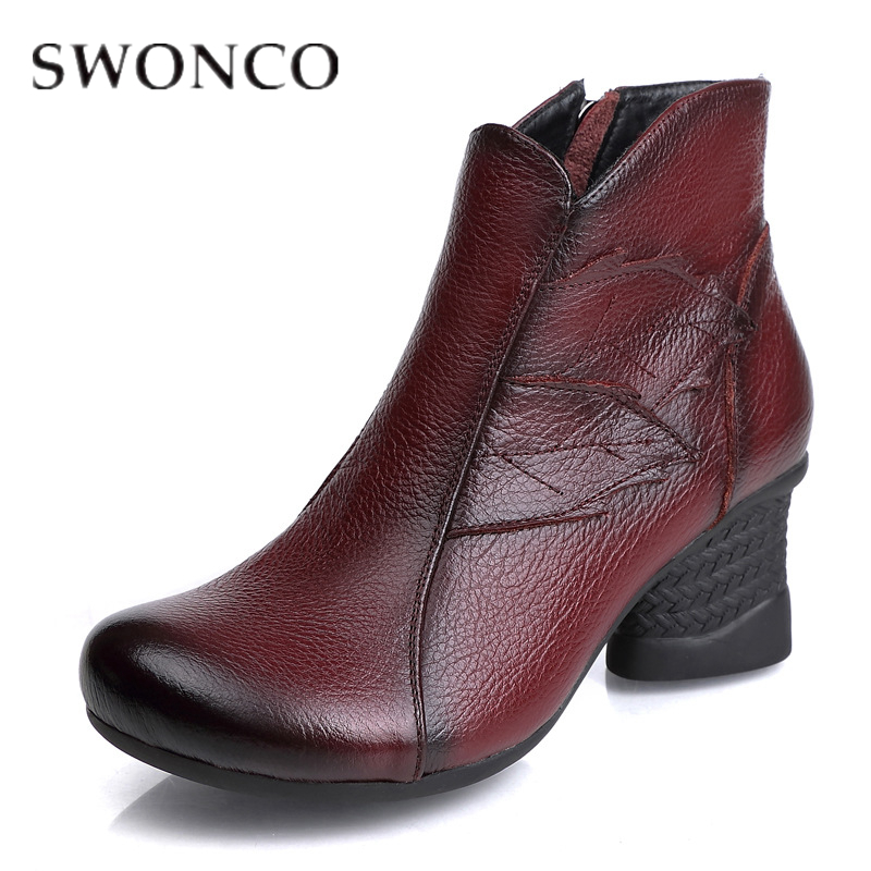 SWONCO Women Boots Autumn/Winter Boots Genuine Leather Fretwork Ladies Retro Wine Ankle Boots Thick Heel 2019 Woman Winter BootSWONCO Women Boots Autumn/Winter Boots Genuine Leather Fretwork Ladies Retro Wine Ankle Boots Thick Heel 2019 Woman Winter Boot