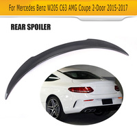 C Class Carbon Fiber Rear Trunk Spoiler Lip Wing Sticker for Mercedes Benz W205 C63 AMG Coupe 2 Door 2015 2017 F Style