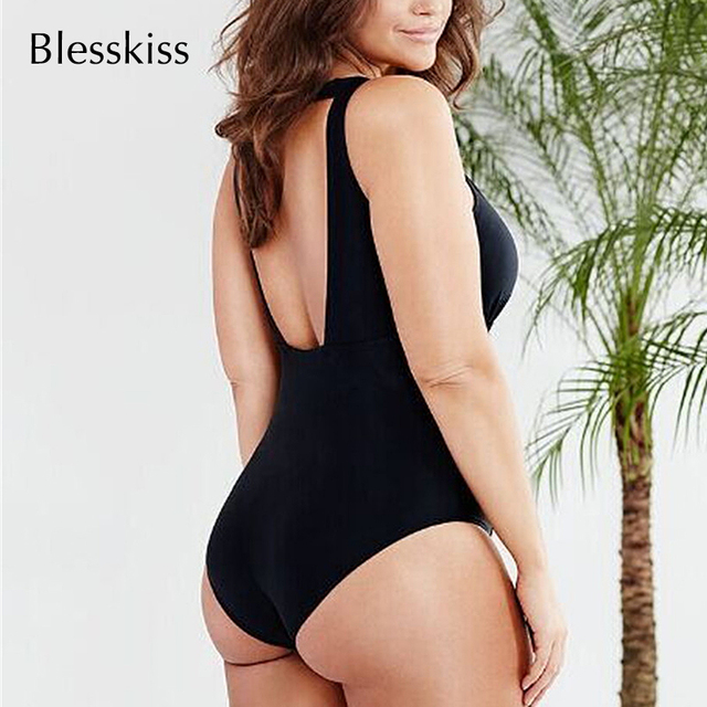 BlessKiss Mesh Front & Side Panel Black One Piece Swimsuit 2