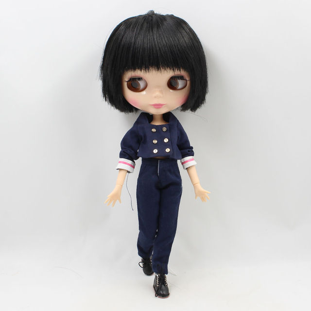 Factory Neo Blythe Male Doll Black Straight Hair Jointed Body 30cm