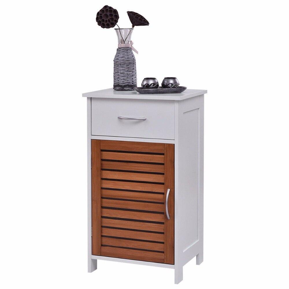 Giantex armoire de sol debout stockage mur obturateur porte salle de bain organisateur meubles de maison BA7244