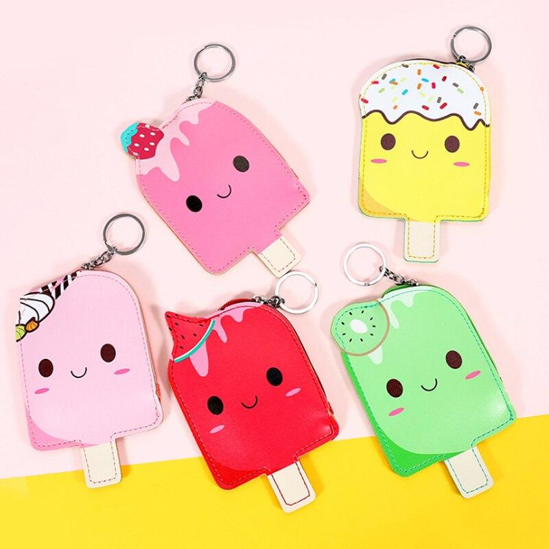 1 Pcs Kawaii Ice popsicle women small wallet bag cartoon clutch zipper bag mini kid coin purse key ring money purse