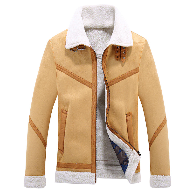 New Men Jacket Coat Fashion Fleece Lined Wool Blends Thick Warm Military Windproof Male  ...