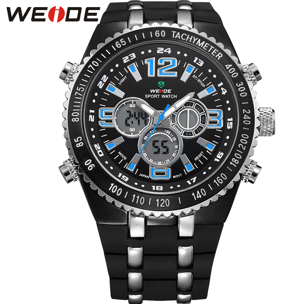 ФОТО WEIDE New Brand Fashion Men Sports Watches Men's Quartz LCD Dual Movement Big Dial Analog Digital Display 3ATM Waterproof Watch