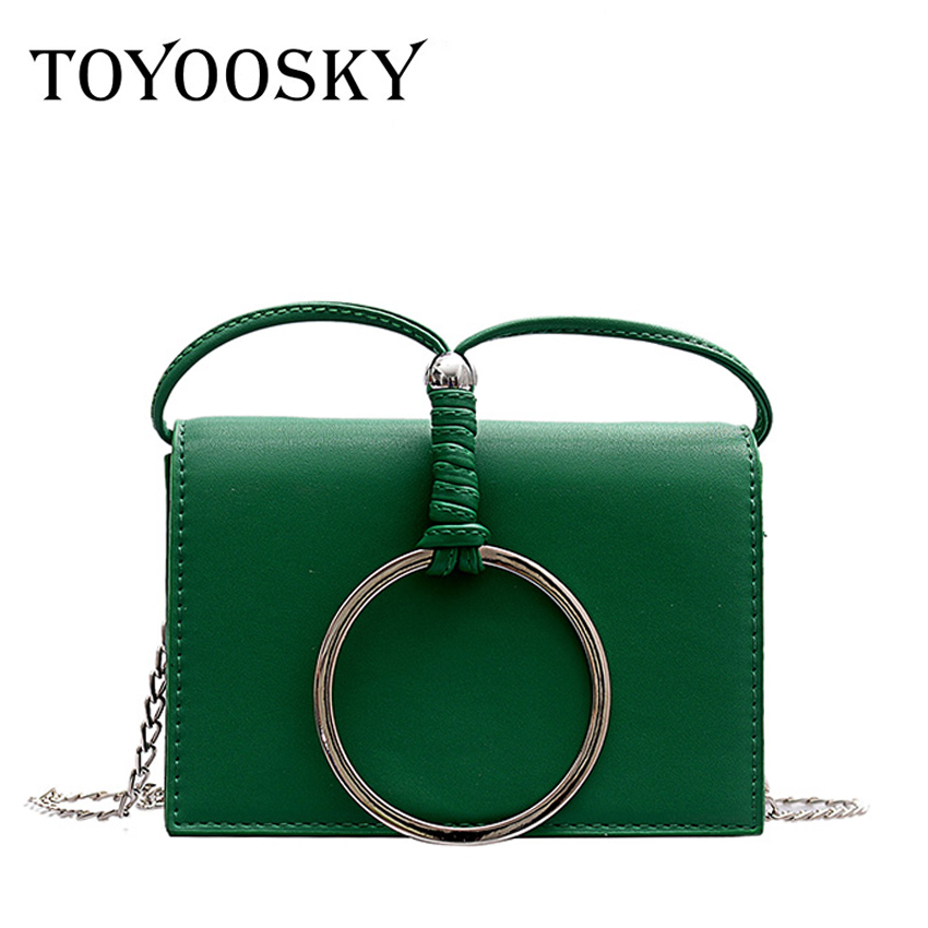 TOYOOSKY Ins Hot Small Crossbody Bag For Women Metal Ring Shoulder Bags PU Leather Messenger Fashion Mini Flap
