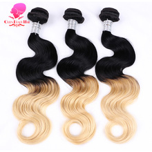 Honey Blonde Brazilian Virgin Human Hair Extensions 3 Bundles Ombre,Ombre Weave,Ombre Extensions,Ombre Body Wave,Ombre Remy(China)