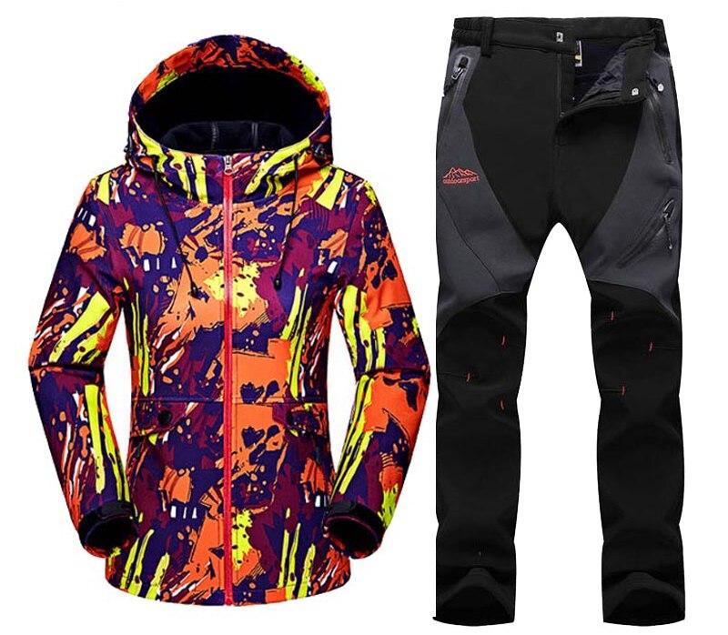 2017 Woman Winter Waterproof Jackets Fishing SoftShell Fleece Warm Outdoor Trekking Pant Hiking Camping Jacket+Trousers Set S46 кухонный диван кантри т1 ольха 2 mebelvia
