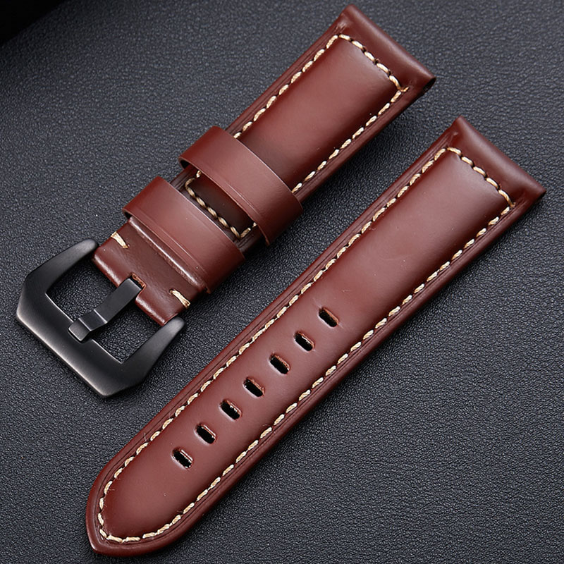 Handmade Genuine Leather Watchbands Men Women Bracelet 20 22 24 26mm VINTAGE <font><b>Watch</b></font> Band <font><b>Strap</b></font> Wiht <font><b>PVD</b></font> Buckle image