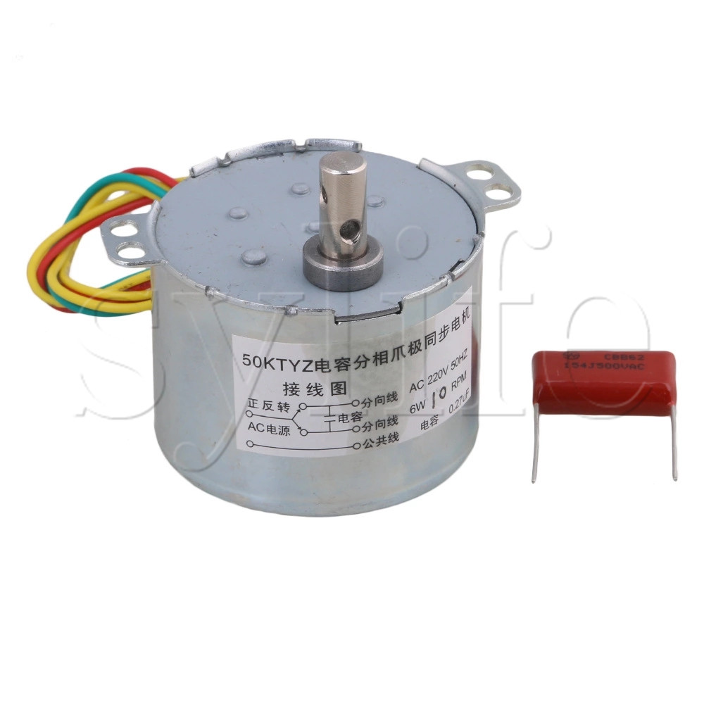 10RPM Silver 50KTYZ AC220V 50HZ 6W Permanent Magnet Gear Synchronous Electric Motor for Industry Automatic metal shell 8 3r min ac 220vv 6w watts 50hz fan synchronous motor
