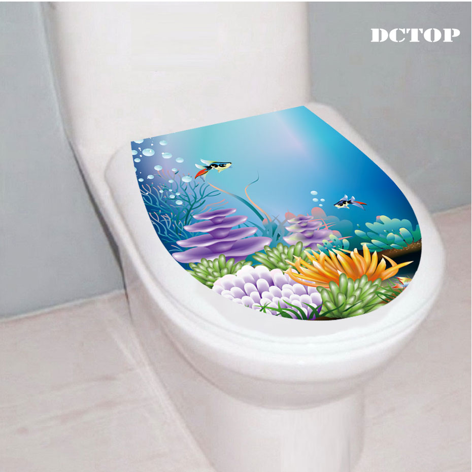 3D diving Underwater World Toilet Seat Wall Stickers Animal Landscape Decal Vinyl Home Decor Bath Room WC sticker Toilet decor