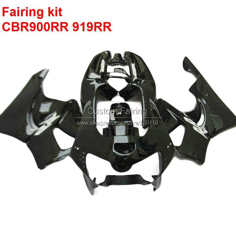 For HONDA Cbr 900rr CBR919RR 1998 1999 98 99 Glossy Black Fairings Custom Fairing Kit 7gifts No014