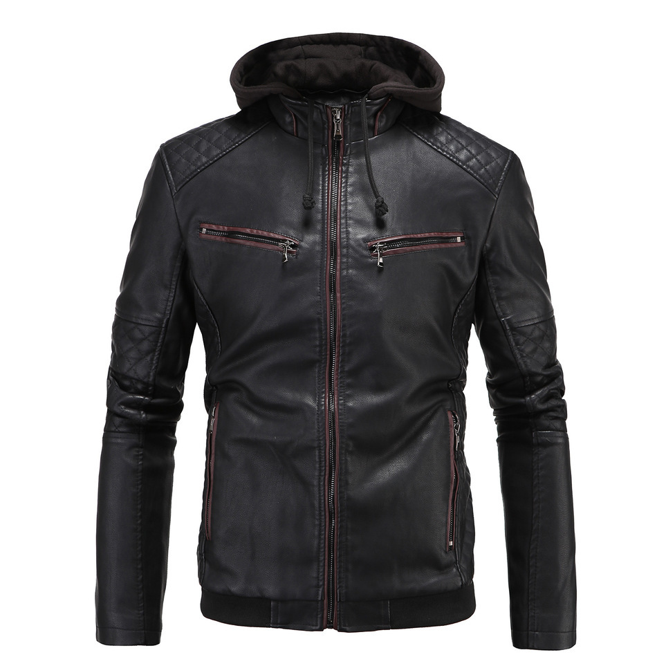 Popular Hooded Leather Jackets Men-Buy Cheap Hooded Leather ...