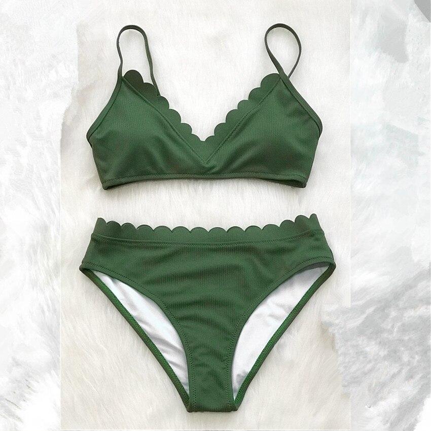 Bonito Scalloped Verde Jogos do Biquini 2019 Das Mulheres Sólidos Duas Peças Praia Fatos de Banho Swimwear