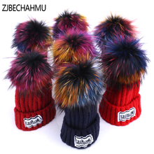 ZJBECHAHMU Hats Fashion Real Fox Fur Pompoms 15cm Skullies Beanies Hat Caps For Women Girl Spring Winter Solid Wool Snapback