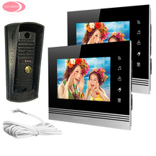 "Best price 7"" LCD Color Video Intercom Monitor For 2 Apartment With Night Vision Metal Waterproof Camera Intercom System Kit Door Monitor"