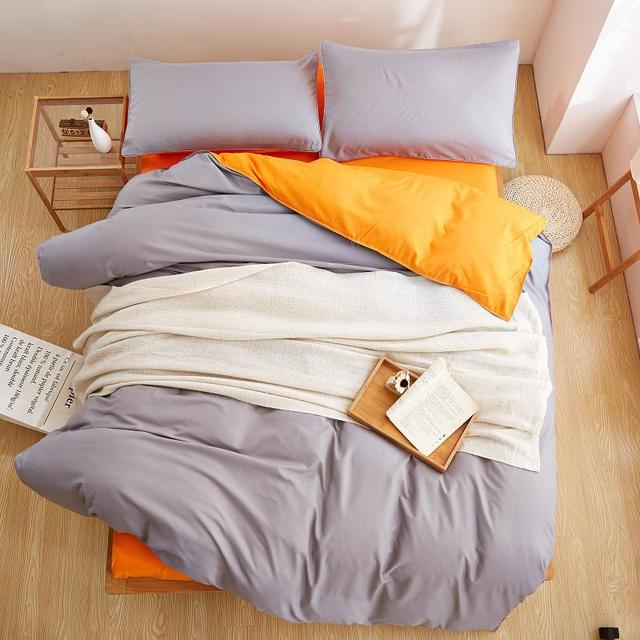 Home Textiles Bright Orange Gray Solid Color Bedding Sets 3 4pcs Duvet Cover Bed