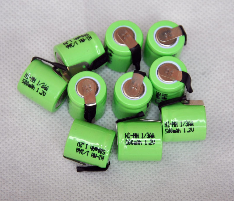10PCS/lot 1.2V 1/3AA 500mAh Ni-Mh Nimh 1/3 AA Rechargeable Battery cell with welding feet leg pins tab flat top