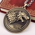 Colar de jogo dos Tronos Casa Stark Inverno Está Chegando Bronze & silver Metal Crista Da Família lembranças de jóias longo colar de pingente