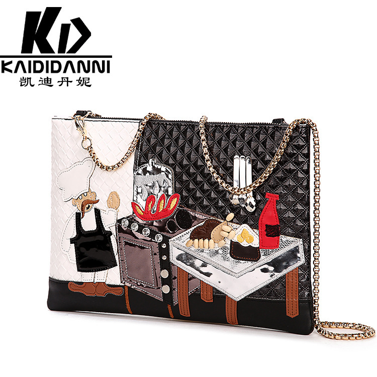 2016 Hot Fashion Women Genuine Leather Handbags European and American Style Shoulder Bags Day The Embroidery Clutches Lady