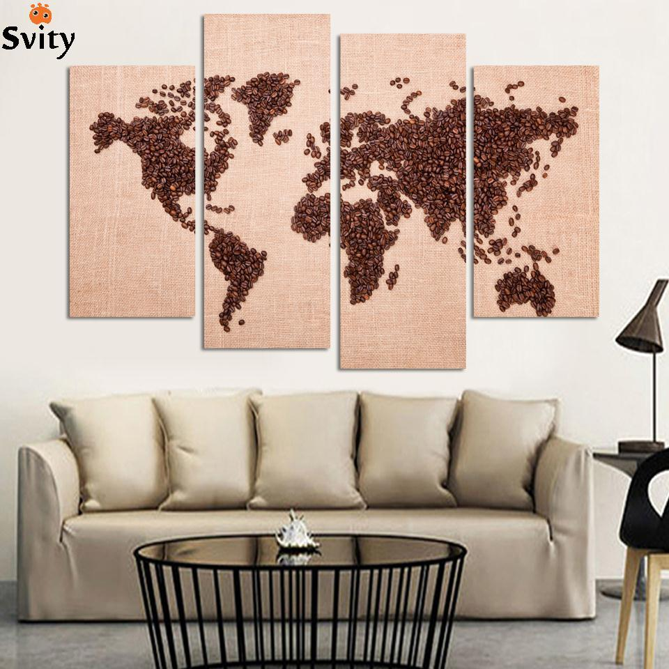 Free Shipping Art Deco Wall Pictures 4 Panel Canvas Art Chinese Painting Coffee Map Art Home