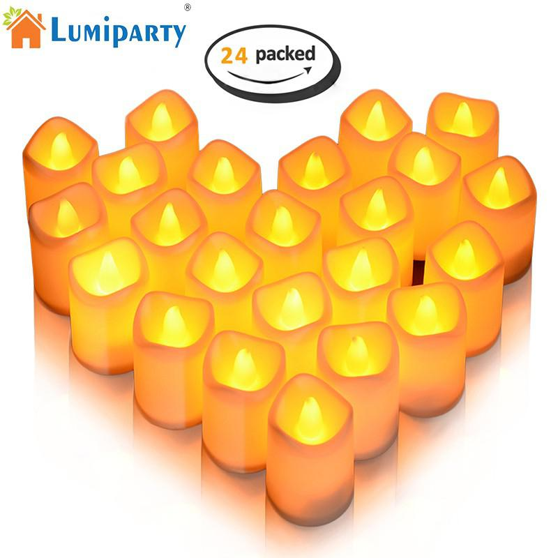 LumiParty 24Pcs Candle Lights Warm White Flameless LED Tea Lights Button Cell Powered Candle Lights for Decor Party Wedding ...