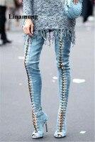 2018 г. модные длинные сапоги выше колена сапоги джинсовые с перекрестной шнуровкой тонкие женские сапоги на высоком каблуке с открытым носко