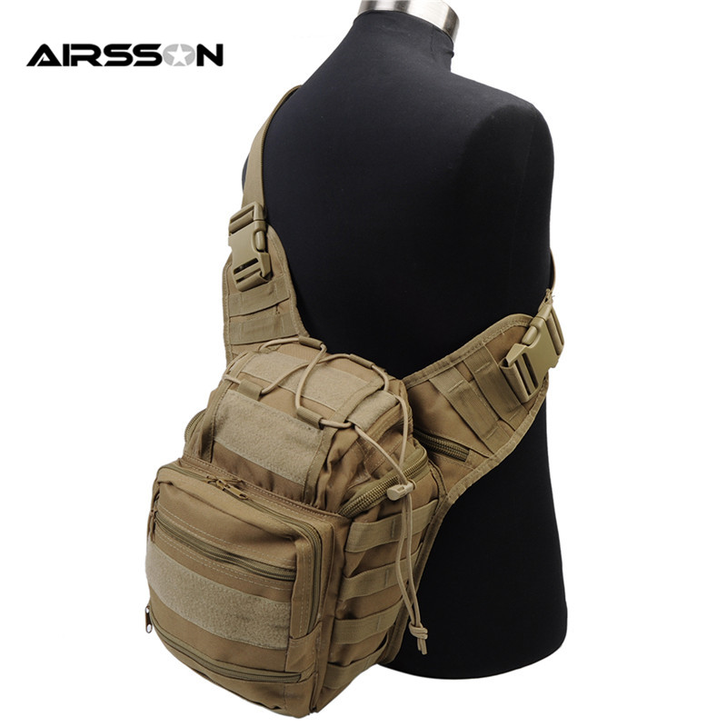цена Airsoft Tactical Men Outdoor Hunting Bags 600D Nylon Cross-body Shoulder Bag Sports Shooting War Game Accessory