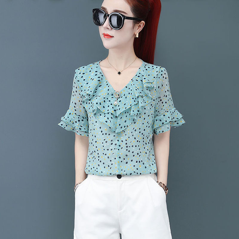Women Spring Summer Style Chiffon Blouses Shirts Lady Floral Printed Short Flare Sleeve V-Neck Ruffles Blusas Tops DF2660