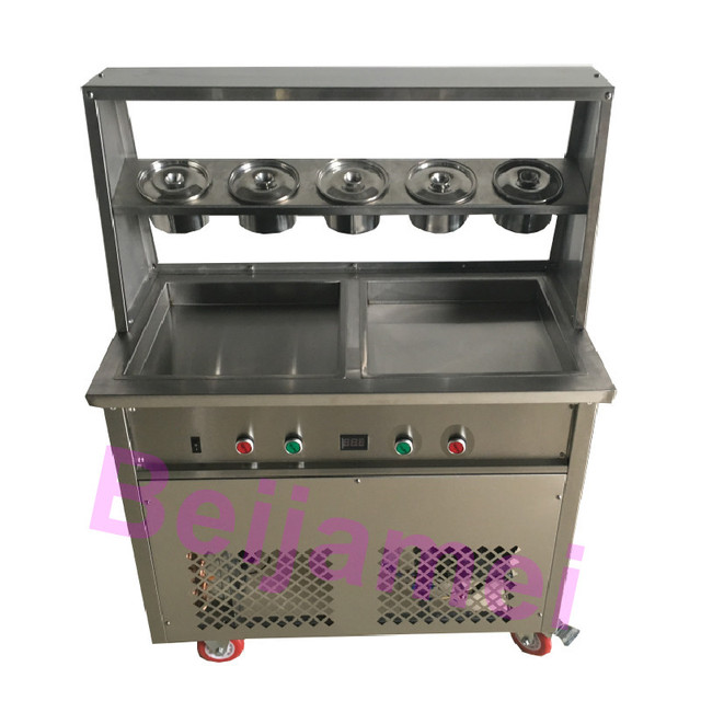 BEIJAMEI 35*35*2.5cm double square pan fried ice cream roll maker 110v 220v Thailand fry machine with 5 barrels