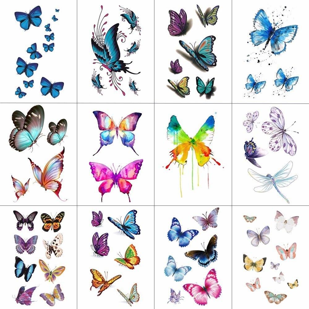 TCOOL 12 teile/los Schmetterling Temporäre Tattoo Aufkleber für ...