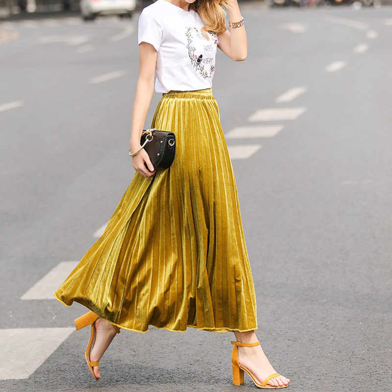 c5680343f ... 2019 New Spring Casual High Waist Golden Long Pleated Skirts Women Fashion  Metallic Skirt for Female