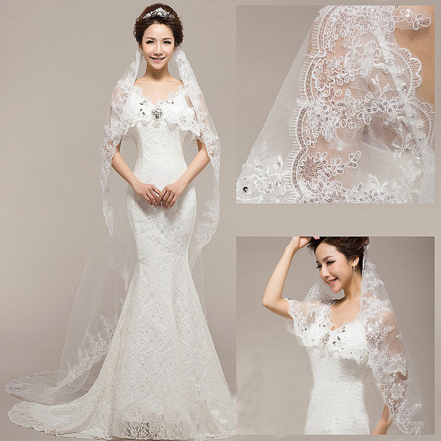 Free Dropshipping Upscale Wedding Bridal Veil 3M Single-Layer Lace Sequined Flower Long Mantila Noble