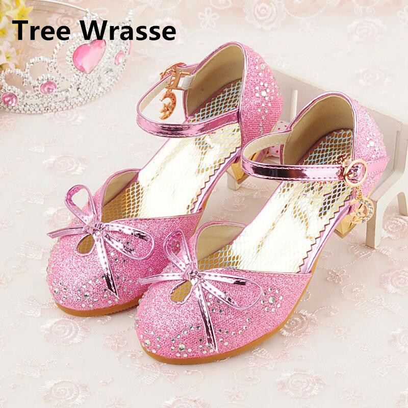2018 Girls Princess Shoes Kids New Bowtie Sandals Children High-heeled Leather Shoes Spring Girl Rhinestone Party Dance Shoes