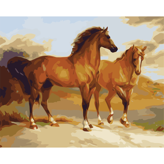 Vernice dai numeri dipinti di cavalli cinese Pittura A Olio di DIY ...