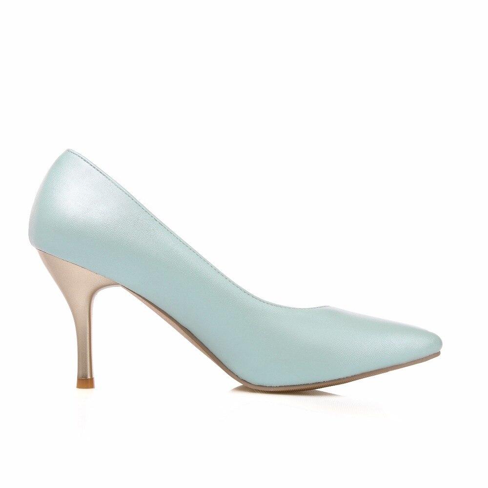 Alto Zapatos De Bombas White Pie Fiesta Boda Oficina purple pink Plus Del Blanco 2018 Fino Tamaño Tacón Rosa blue 46 La Casual Dedo Dulce Mujer EPxqPd